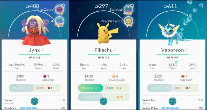 Pokemon GFO diferentes tipos