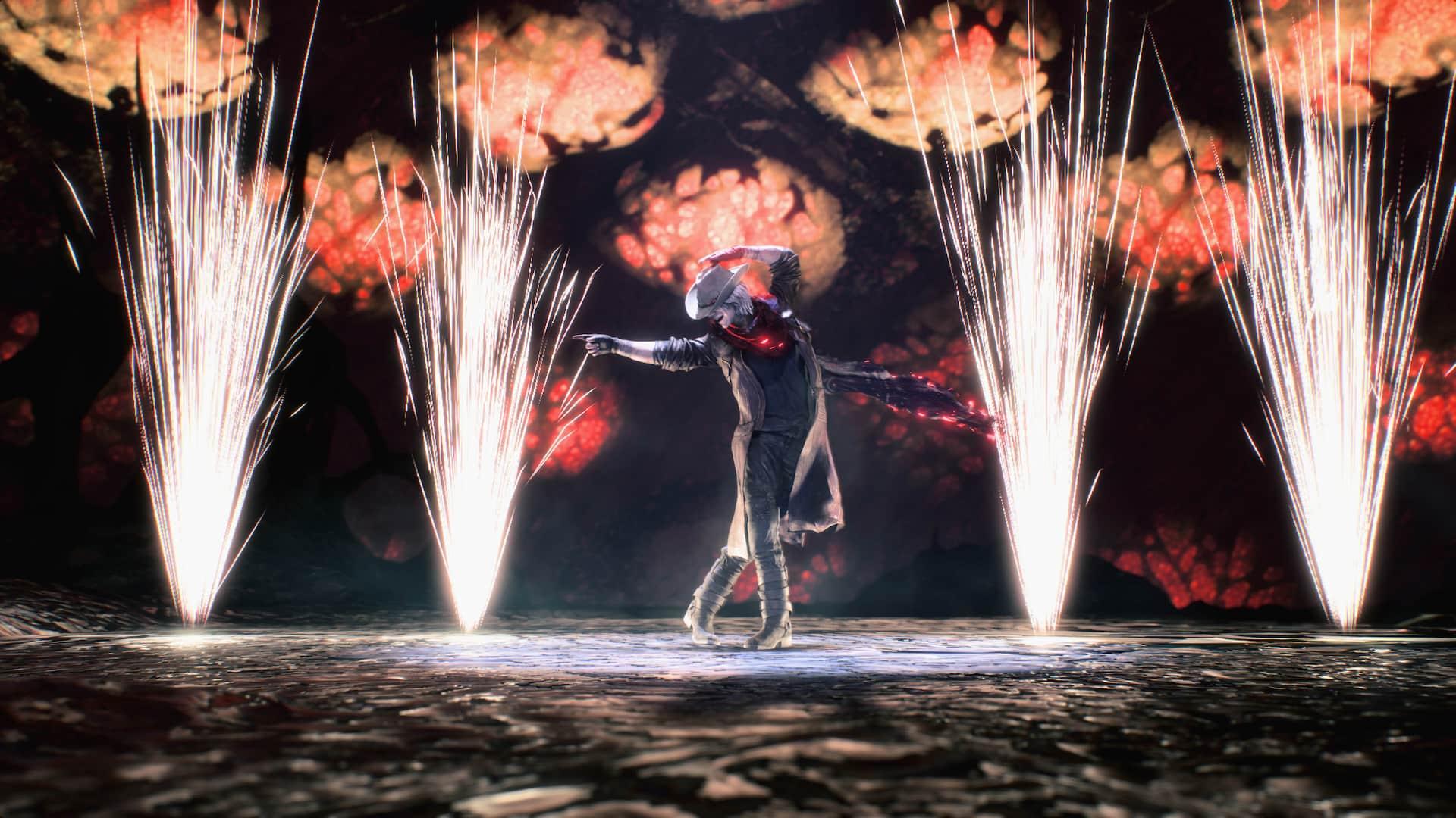 Dante dançando em Devil May Cry 5. Fonte: Divulgação / Capcom