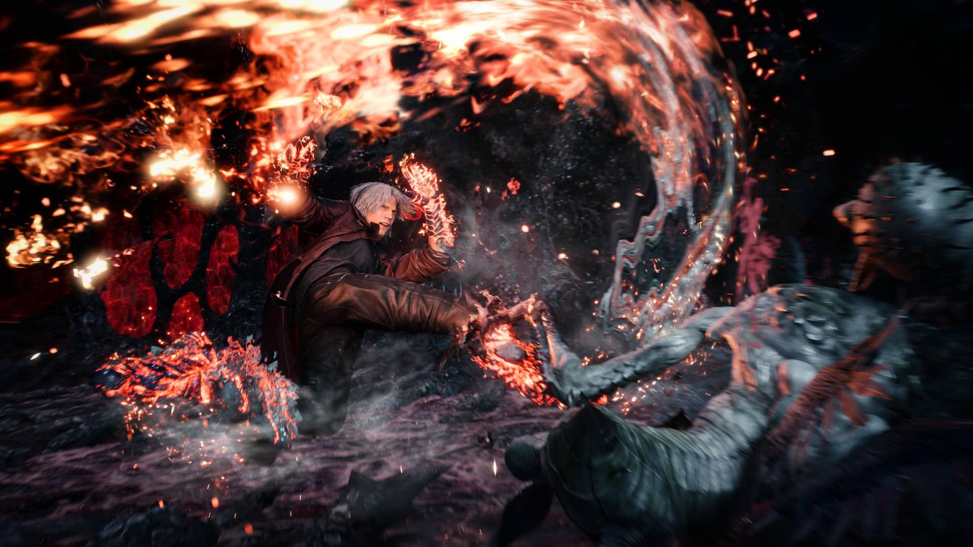 Dante lutando com a Balrog em Devil May Cry 5. Fonte: Capcom / Divulgação