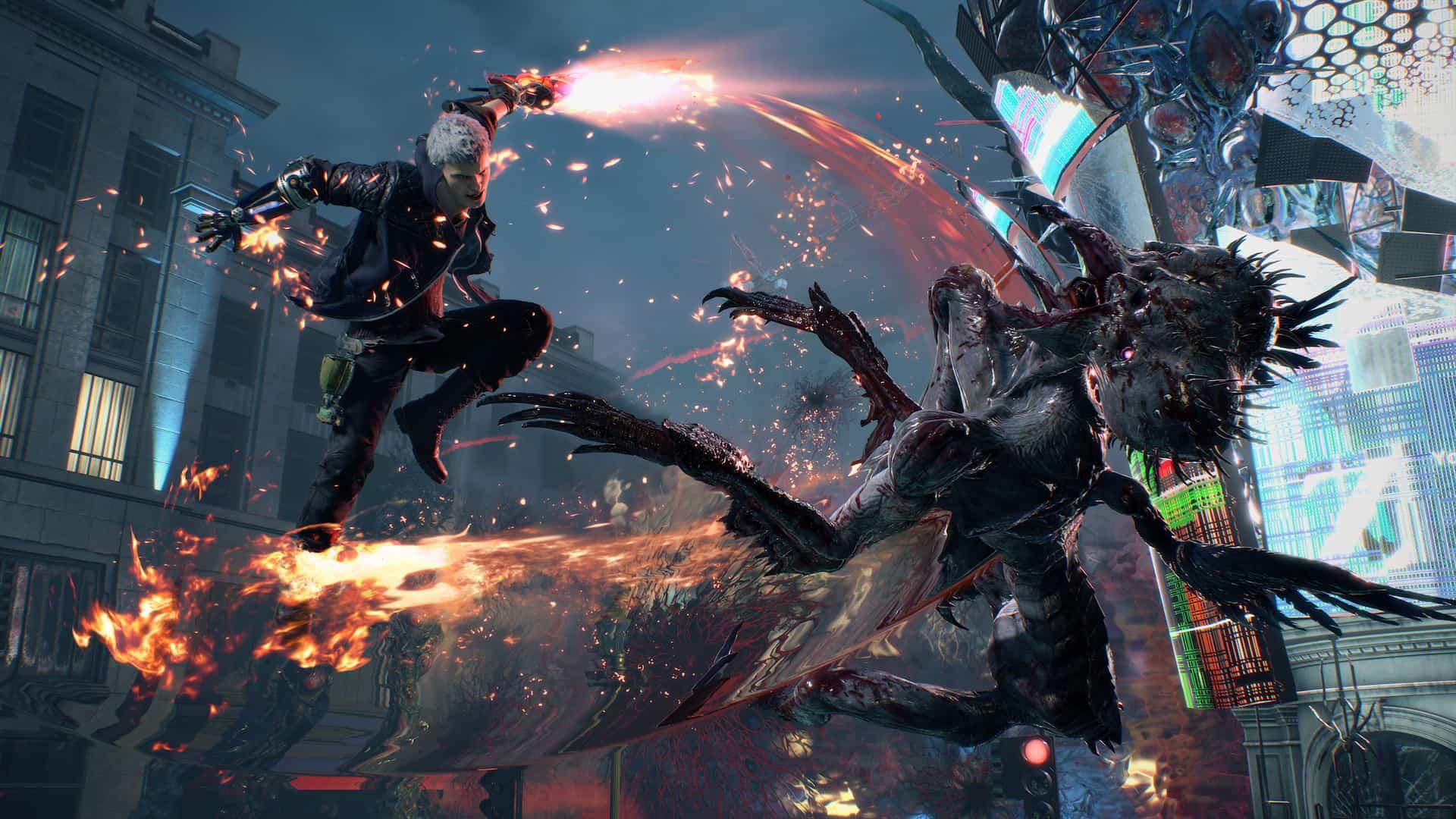 Nero lutando em Devil May Cry 5. Fonte: Capcom / Divulgação