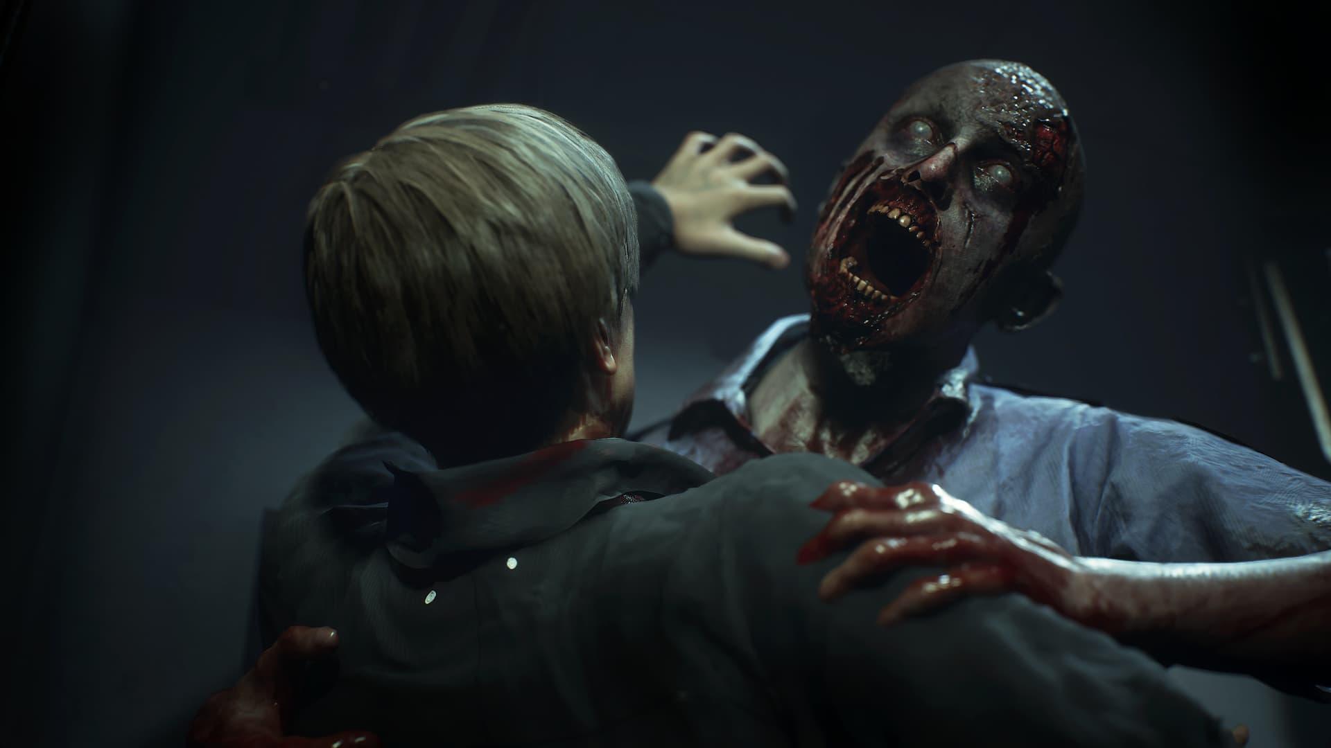 Leon sendo atacado por um zumbi