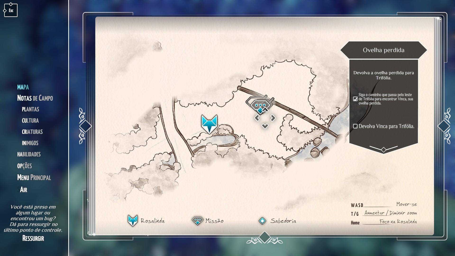 O botão de Ressurgir, em caso de bugs críticos, no canto da tela.