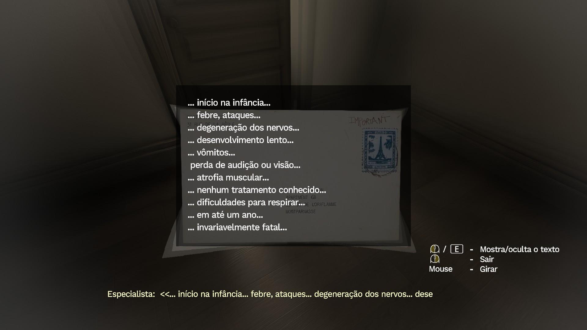 Top 10 métodos de como deixar o jogador triste: carta fictícia de doutor fictício descrevendo uma doença cruel e incurável.